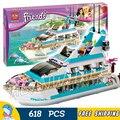 618psc Бела 10172 Друзья Девушки Большой Dolphin Cruiser cruiseships Модель Строительные Блоки игрушки Совместимы С lego