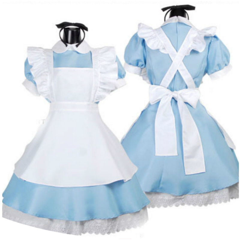 Cosplay Dress for Child Girl Alice in Wonderland Girls Skirt Fancy Maid Lolita Anime Costume Outfits Set Hall Halloween Carnaval