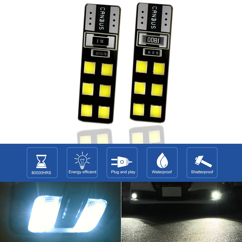 Image 2 - LED Light Bulbs For Cars 2Pieces T10 5630 12SMD High Power Car Wedge License Plate LED Light Bulbs Width Reading Panel Lights-in Signal Lamp from Automobiles & Motorcycles