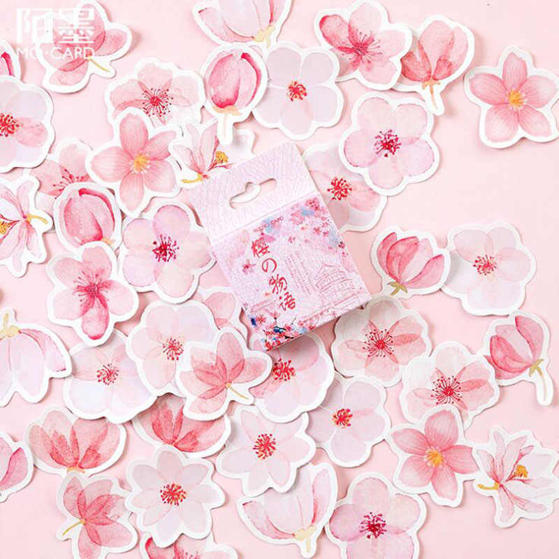 45pcs Cherry Blossoms Stickers Kawaii Diary Handmade Adhesive Paper Flake Japan Sticker Scrapbooking Stationery Travel Stickers