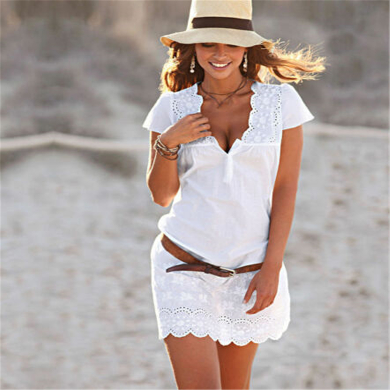 Plus Size Womens Short Sleeve Loose Mini Dress Summer White Embroidery Sexy V-neck Evening Ladies Summer Party Mini Dress S-4XL