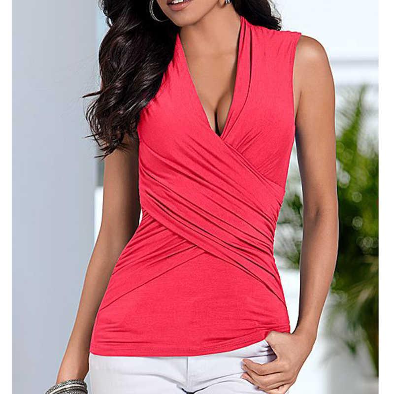 a684ed5dd581 ... Women t-shirts Slim sleeveless Women sexy Tops New Summer Women s Cross  V-neck ...