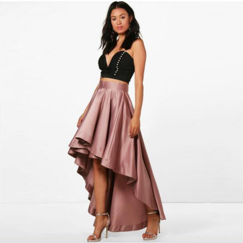 2019 Vintage High Low Lady Pleated Satin Skirt Floor Length Top Quality Long Women Party Skirt Custom Fashion Any Color Free