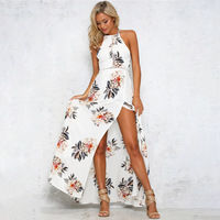 plus size Floral print halter chiffon long dress Women backless 2018 maxi dresses dress Sexy white split beach summer dress