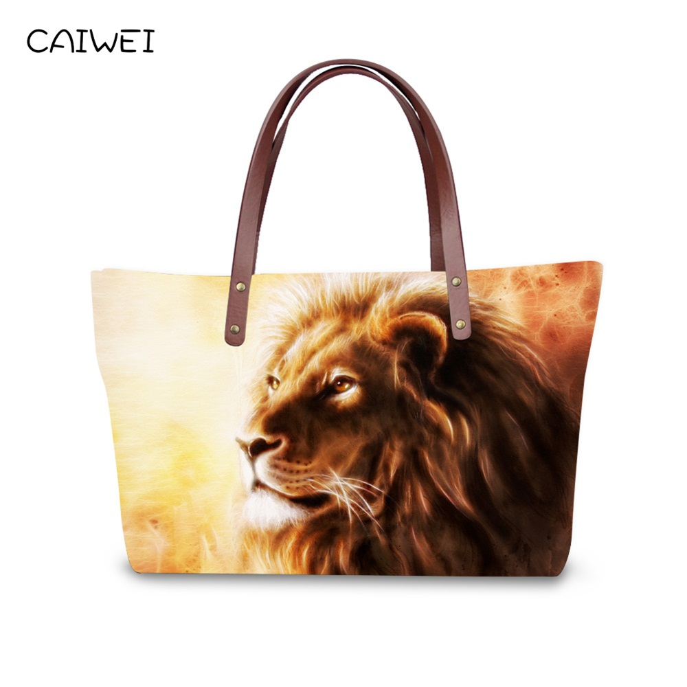 Haute Qualité Femmes Sacs À Main Marque De Mode Animal Épaule Sacs Cool Lion Tigre Designer Top Poignée Bolsas Grand Voyage Sacs