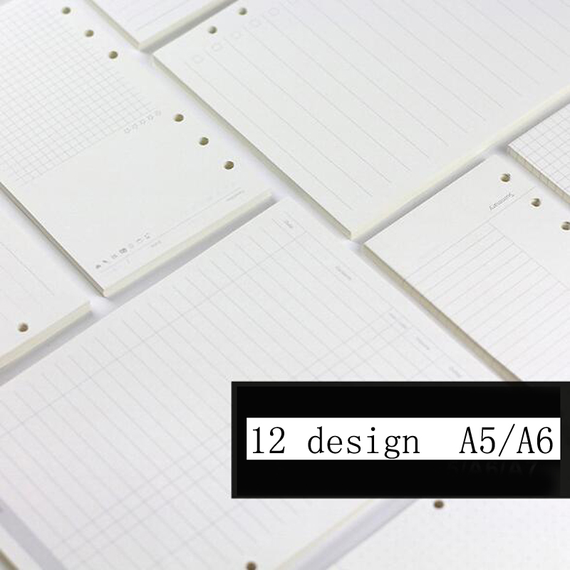 <font><b>A5</b></font>/A6 <font><b>Spiral</b></font> <font><b>Notebook</b></font> Filler Paper For Filofax Diario Planner Inner Pages Of Replacement Office Accessories Binder Book Paper image