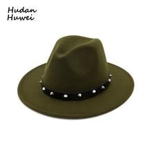 0345d10a57064 Unisex Vintage Blower Jazz Hat Trilby Derby Flat Brim Wool Felt Fedora Hats  with Rivet Belt Men Women Formal Party Panama Hat