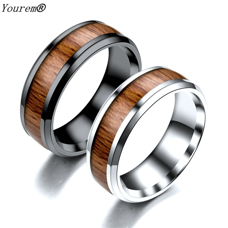 YOUREM Stainless Steel Dull Polish Wood Wedding Bands