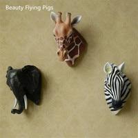 Wall Decoration Crafts, Zebra Head, Giraffe Head, Elephant Head, Creative Animal Head Statue