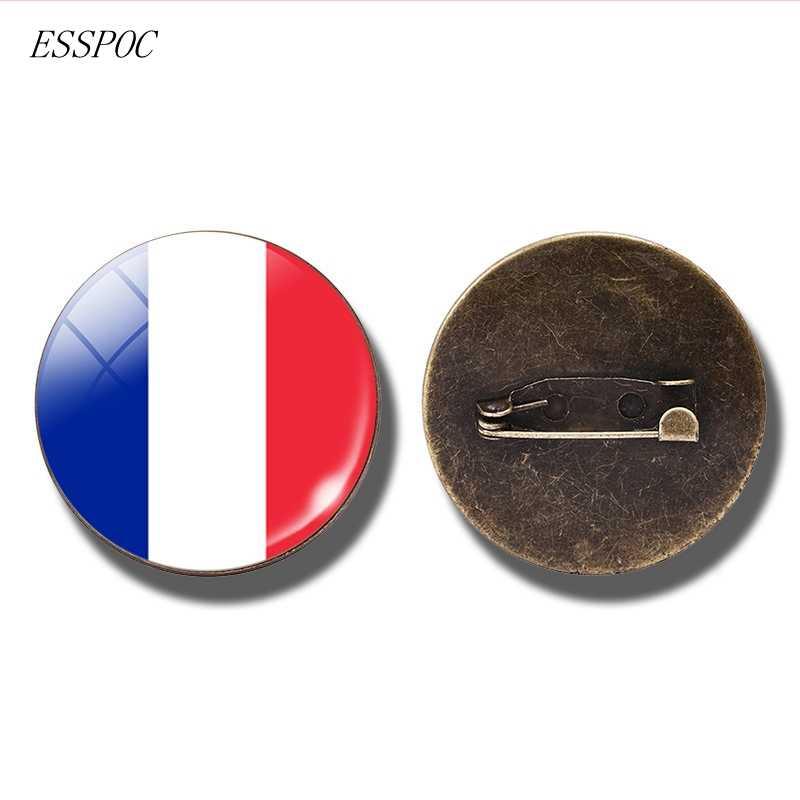 Nasional Bendera Lencana Pin Perancis Italia Spanyol Polandia Belanda Rusia Irlandia Negara Bendera Bros Cabochon Perhiasan