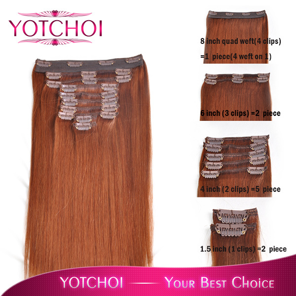 Yotchoi 18inch Clip In Remy Human Hair Extensions 10pcs Wefts Light