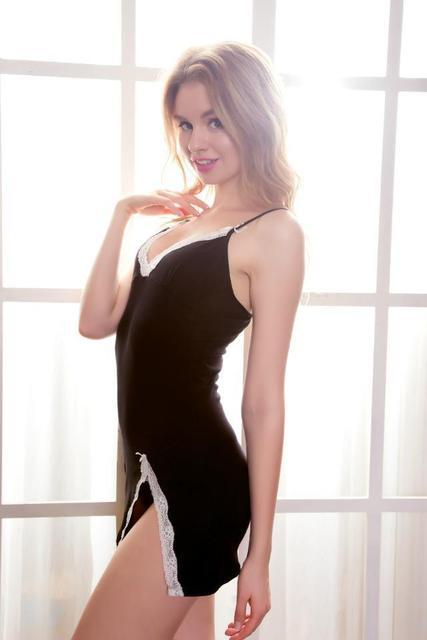 Nueva Algodón de Las Mujeres Sling Correa de traje ropa de Dormir de Las Mujeres de la Señora de Encaje Con Cuello En V Pijamas Sexy Pijamas Set Camisón