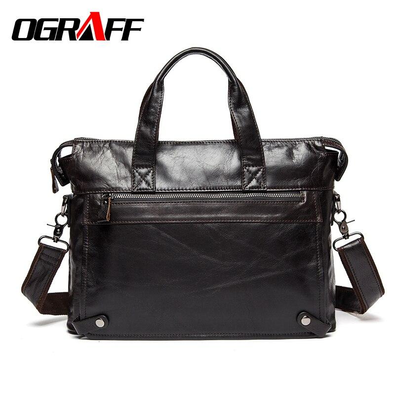 OGRAFF Men Handbags Briefcase Laptop Tote Bag Genuine Leather Bag Men Messenger Bags Business Leather Shoulder Crossbody Bag Men