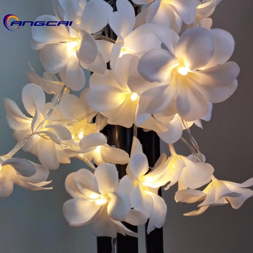 White Violet Cloth Frangipani Floral Wedding Led Battery String Lights, Plumeria,garland,party,xmas,bedroom Decor 1/2/3/4M