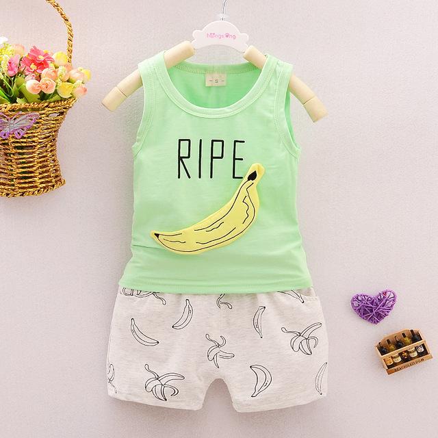 2016 Banana Bebê Define Meninos Roupas de Verão de Algodão Sem Mangas Vest + Shorts 2 pcs Crianças Sports Define Vestuário Ternos Recém-nascidos