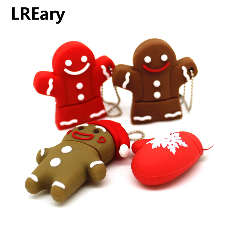Cartoon Gingerbread Man USB Flash Drive Biscuits Toy Pen Drive Pendrive 4GB 8GB 16GB 32GB Memory Stick Christmas Gift U Disk 64G