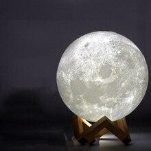 Перезаряжаемая лампа с 3D принтом в виде Луны, 2 цвета, сенсорный переключатель для спальни, книжный шкаф, Ночной светильник, домашний декор, креативный подарок, 8 см-20 см