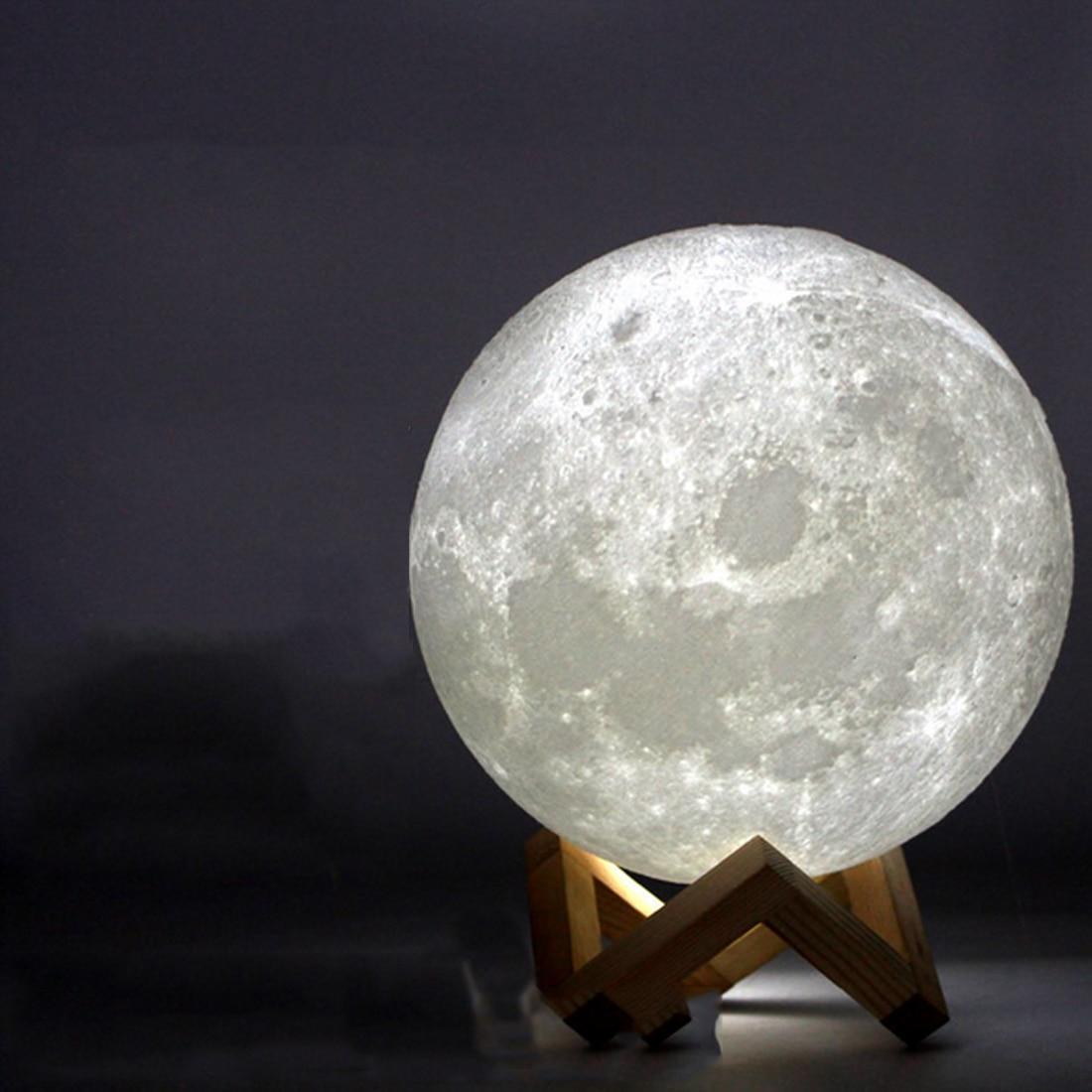 Impressão Lua Lâmpada recarregável 3D 2 Cor Mudar Interruptor de Toque Quarto Estante Luz Da Noite Decoração de Casa Criativa Presente 8 cm -20 cm