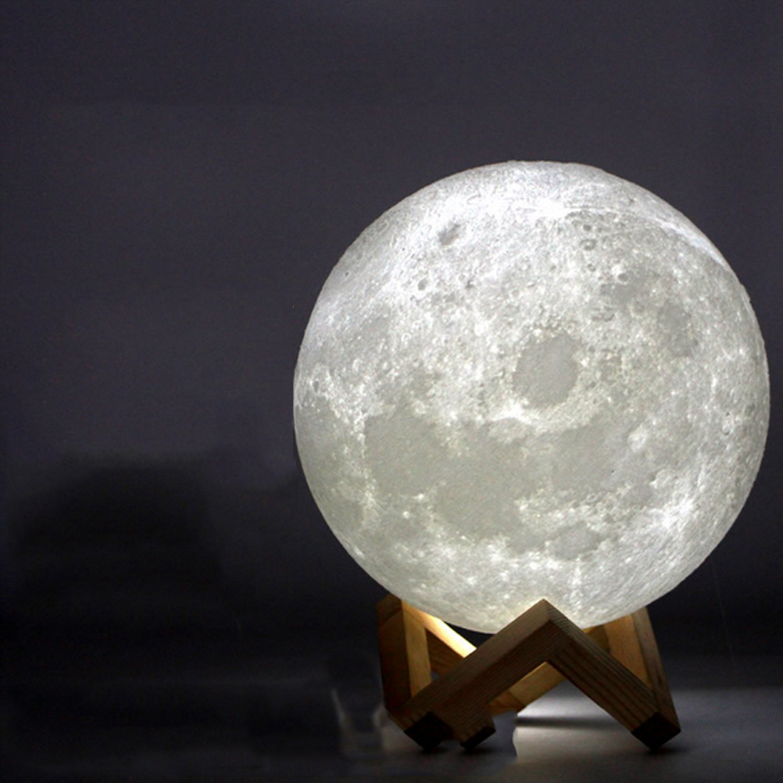 Rechargeable 3D Print Moon Lamp 2 Color Change Touch Switch Bedroom Bookcase Night Light Home Decor Creative Gift 8cm-20cm