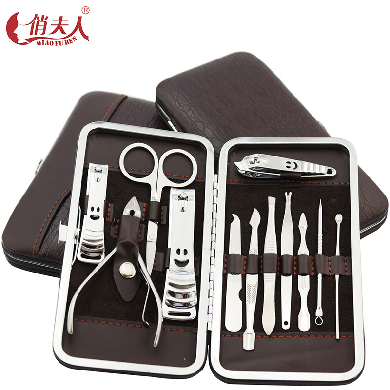 12 i en Nail Clipper Set naglar manikyr verktyg Pedicure Knife sax Nagellack Nipper Cutter Cuticle Grooming Kit med fall