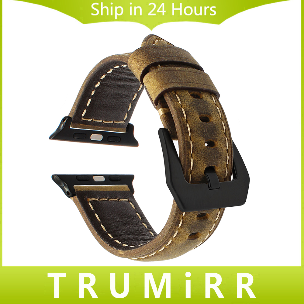 TRUMiRR Genuine Leather Watchband + Upgraded Adapter for iWatch Apple Watch 38mm 42mm Vintage Wrist Band 316L Steel Buckle Strap genuine leather classic buckle watch straps wrist band for apple watch 42mm red