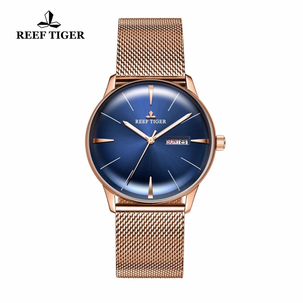 New Reef Tiger/RT Designer Automatic Watches Rose Gold Blue Dial Watches with Date Day Convex Lens Watches for Men RGA8238 вьетнамки reef day prints palm real teal