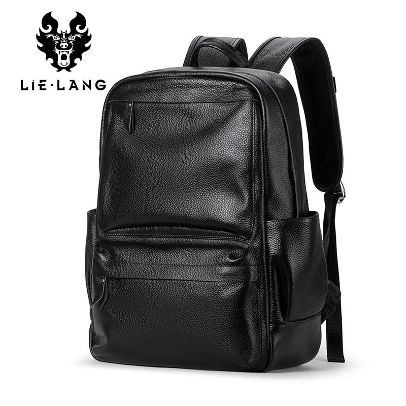 LIELANG Men Genuine Cow Leather Backpack Laptop Waterproof Male School Bag High Quality Men Daypacks Casual Travel Bag