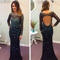 Sexy espalda abierta brillante con cuentas brillantes piedras Prom vestidos O cuello de manga larga negro Mermaid Party Prom vestidos 2016