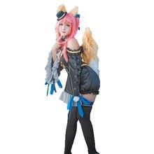 Fate/Extra CCC Caster tamamo no Mae костюм на Хэллоуин вечерние костюмы для косплея Полный комплект с ушками и хвостами