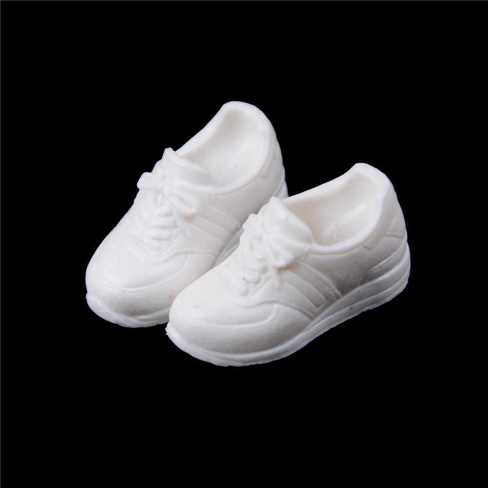 Moda 1 Boneca Par Sapatos Sapatos de Desporto Branco Sapatos Para Boneca Blyth Adequado Para Licca 1/6 Acessórios Da Boneca Sapatos