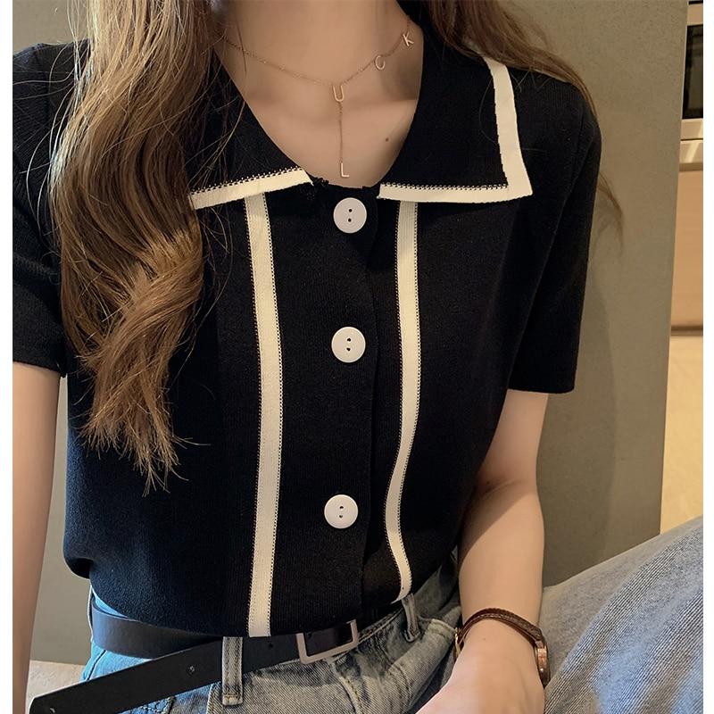 Avocado Green Ice Silk  Knit Sweater Women Summer 2019 New Loose Short-sleeved Shirt Polo Shirt Matcha Green Shirt Women