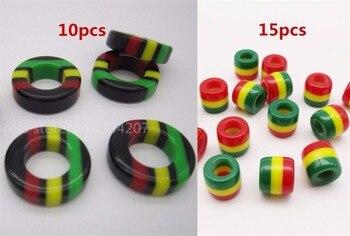Assortiment de 25 perles de dreadloks rouge/jaune/vert