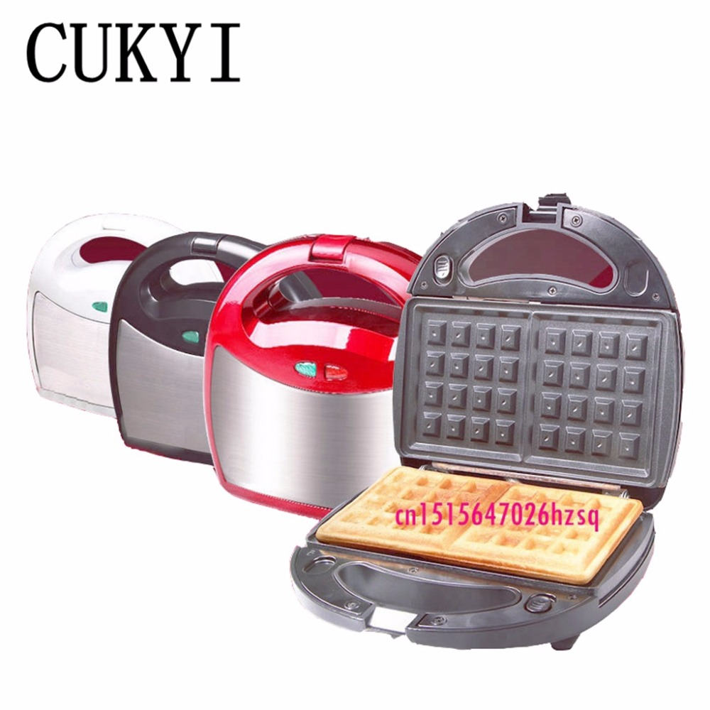 CUKYI Removable Waffle machine Household stainless steel Muffin cake machine barbecue  machine omelet sandwich maker donut free shipping mini kitty shape waffle maker machine khaki muffin cake machine