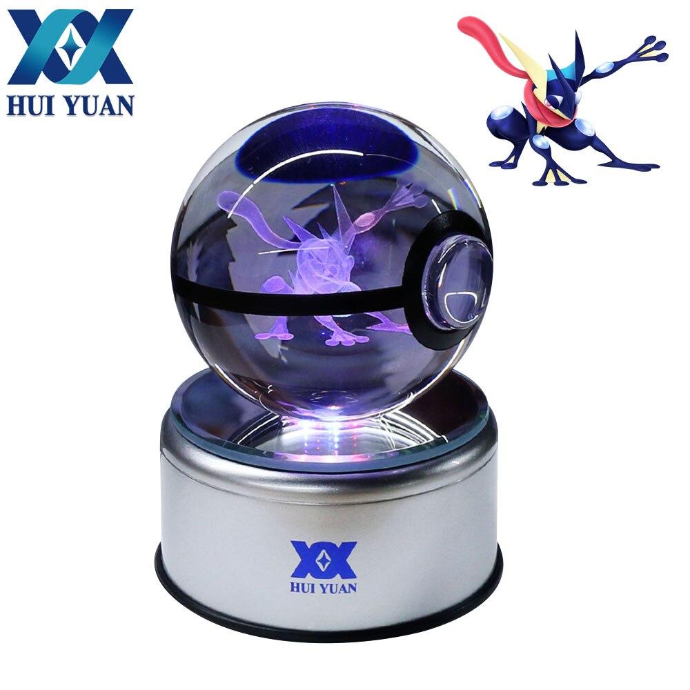 HUI YUAN Greninja Crystal Ball 8CM Rotary Base USB & Battery Powered 3D LED Night Light Desk Table Lamp Decorations