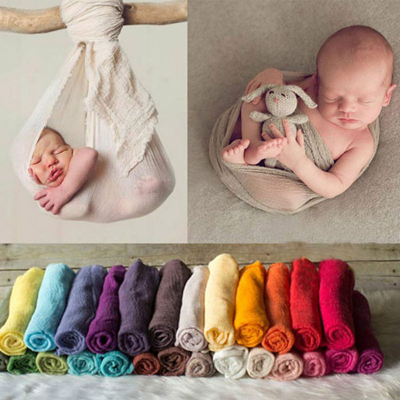 150cm MXECO Baby Photography Props Manta Rayon Stretch Envoltura de Punto Reci/én Nacido Photo Wraps Hamaca Swaddling Padding Nubble Wraps 40