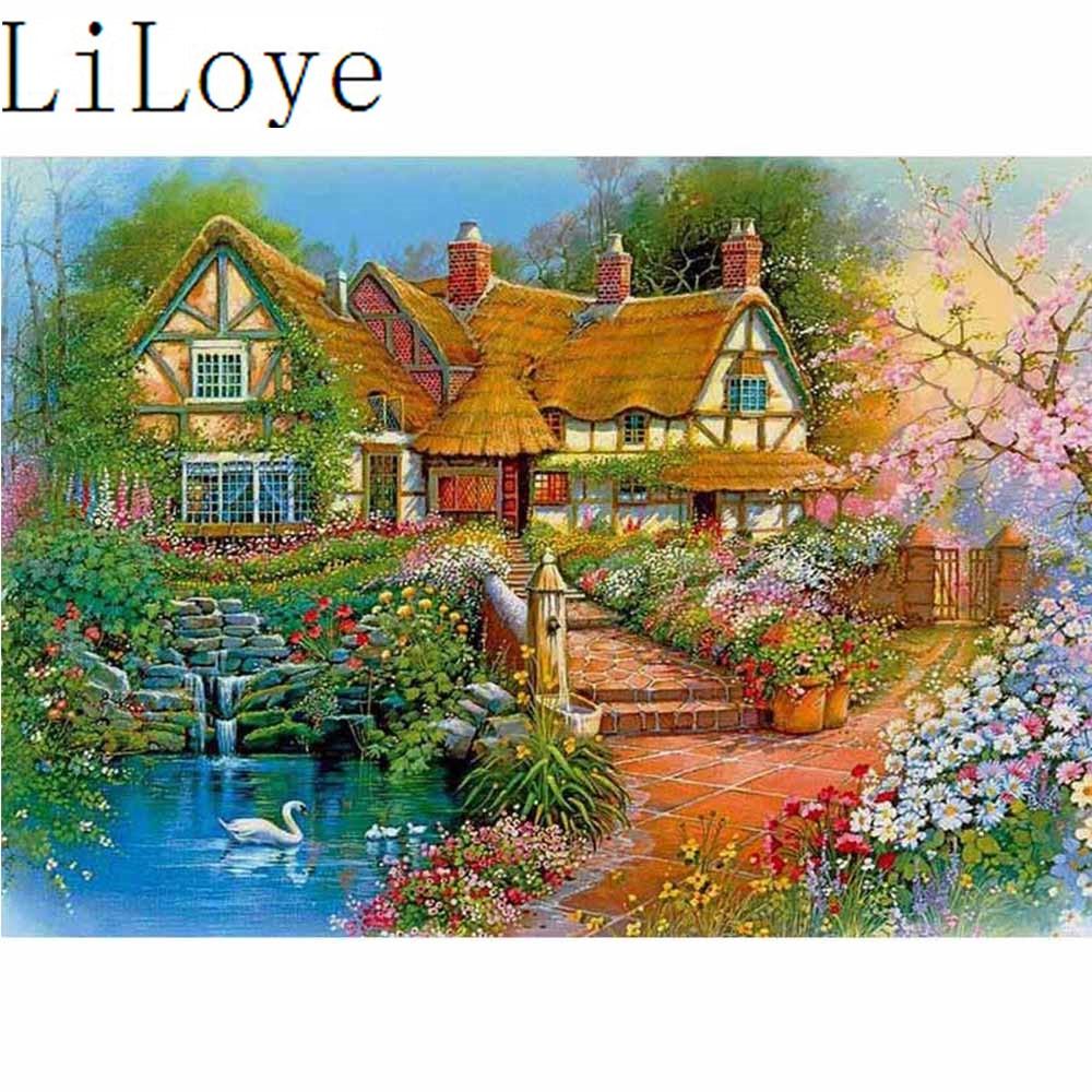 House DIY 5D Diamond Painting Embroidery Building Cross Stitch Home Decor Hut
