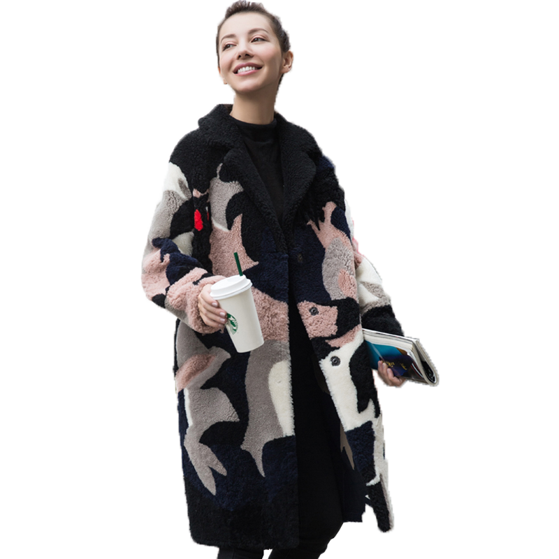 Rivestimento di Inverno di autunno Vestiti Delle Donne 2018 Coreano Vero Cappotto di Pelliccia Giacca di Lana Vintage In Lana D'agnello Cappotti Double face Pelliccia Magliette e camicette ZT1144