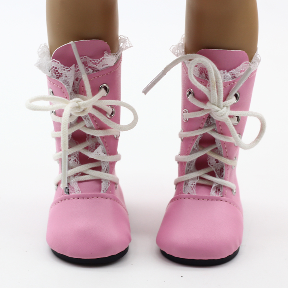 Dolls Shoes Fit for 18 inch American Girl Doll Vintage Pink Princess Boots With Lace Fashion Dolls Accessories