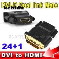 Kebidu-Adaptador convertidor hembra tipo A, 24 + 1P Digital DVI macho A 19 pines HDMI, compatible con conector chapado en oro de doble enlace DVI-D