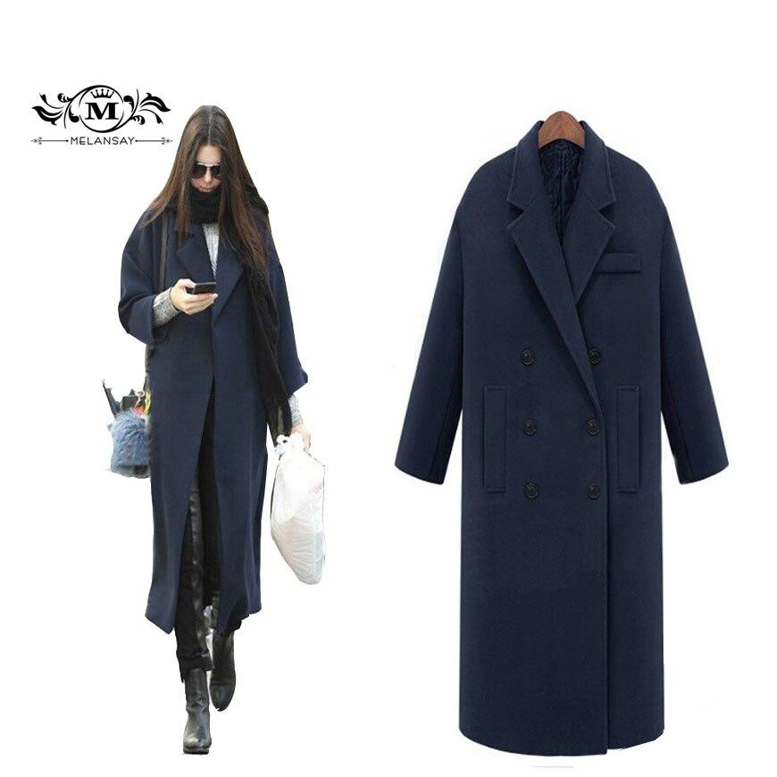 Fall Winter 2018 Women's Classic Oversize Wool Coat Femme Cashmere Maxi Long Jacket Outwear Black Manteau Slim Trench Peacoat