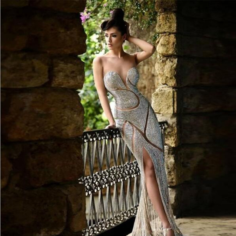Luxury Rhinestone Crystal Backless Tulle Sweetheart Floor Length Wedding Party Dress