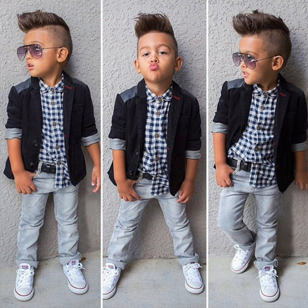 2017 Newest Autumn Baby Boys Clothes Set Black Coat +Long Sleeve Plaid Shirt+Denim Pants Fashion Kids Clothing Suit Boy Sets
