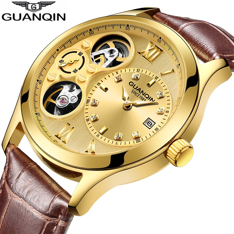 Skeleton watch GUANQIN 2018 Luxury golden Automatic watch men with Date,Tourbillon,Small second dial,Luminous Mechanical watches цена 2017
