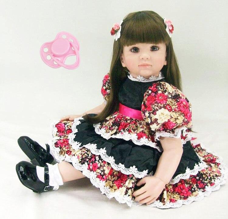 Silicone Bébés Reborn Jouet 60 cm Vinyle Princesse Enfant Poupée Avec Belle Robe D'anniversaire Cadeau Présent Filles Brinquedos