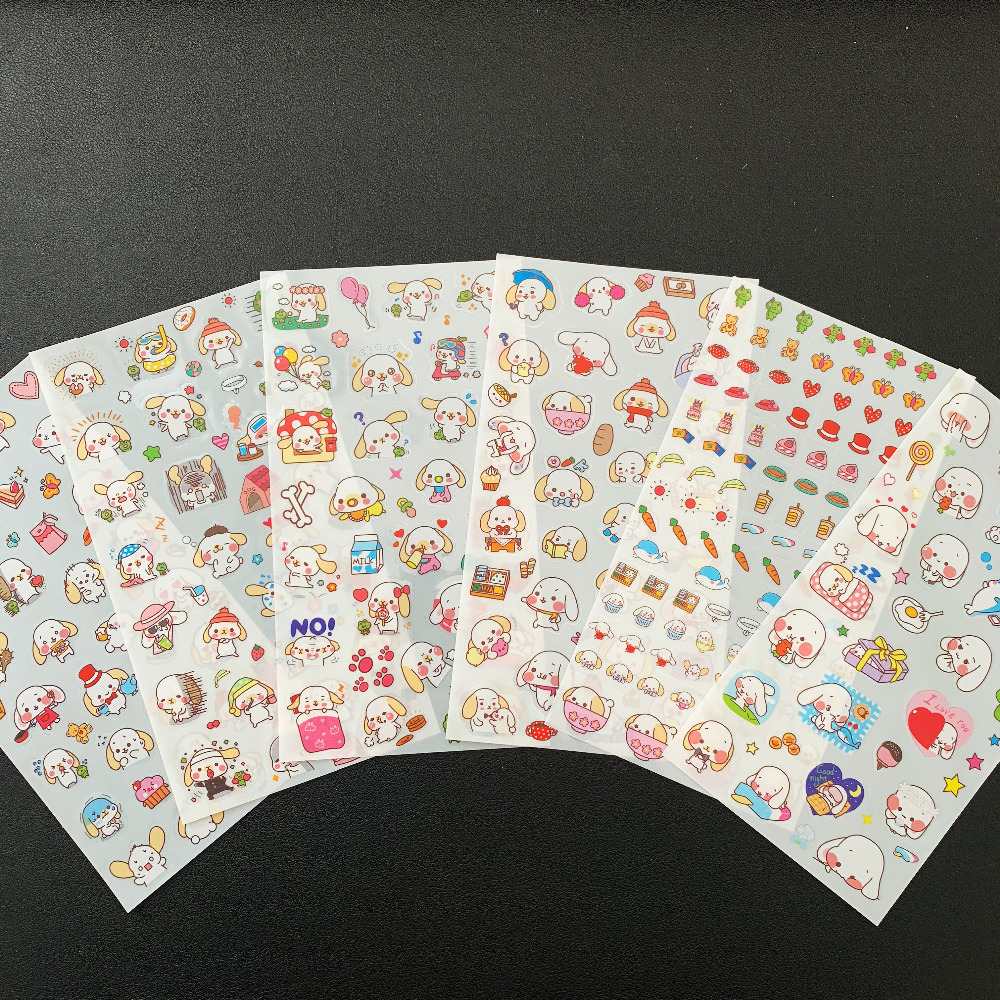 6 Sheets Cute Adorable Ear Puppy Dog Adhensive Stickers Decorative Album Diary Stick Label Stationery Decor Hand Account
