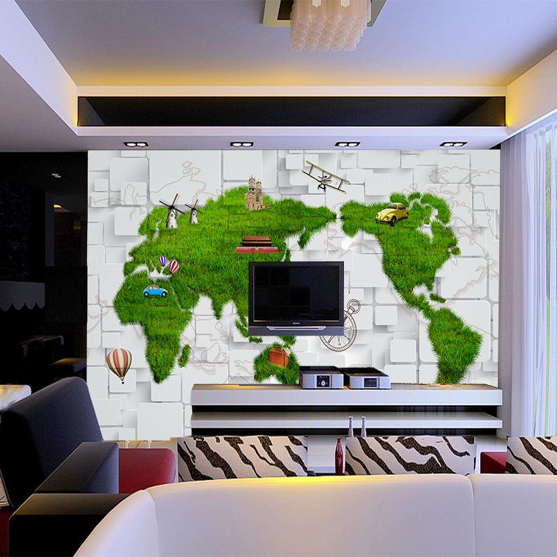 Europe map prairie 5d space wallpaper bump marble brick wall seamless large mural for household decor office wall improvement