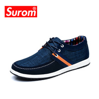 Spring Autumn New Lace Up Men S Casual Shoes Canvas Cow Suede Stitching Upper