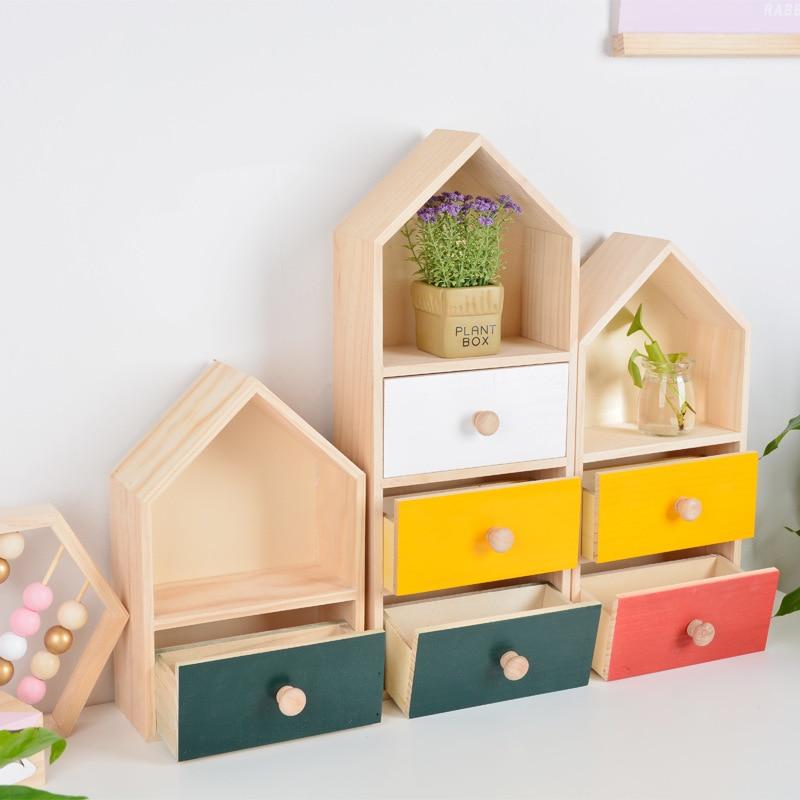 US $24.88 13% OFF|Nordic Wooden House Shape Storage Boxes Creative  Multifunction Sundries Desktop DIY Kids Bedroom Decorative Drawers  Organization-in ...
