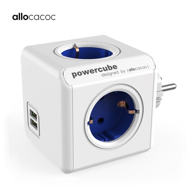 Allocacoc inteligentna wtyczka Powercube Listwa zasilająca UE elektryczny 2 USB sklepy gniazdo przedłużające wielo adapter podróżny Ładowarka podróżna 3680W 5V 2.1A Dom Ładowanie