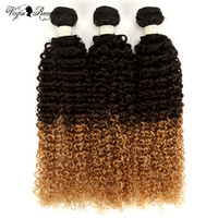 Queen Virgin Remy T1B/4/27 Ombre Brazilian Kinky Curly Hair 1/3/4 Pcs Hair Weave Bundles 100% Human Hair Extensions 16 22 Inch